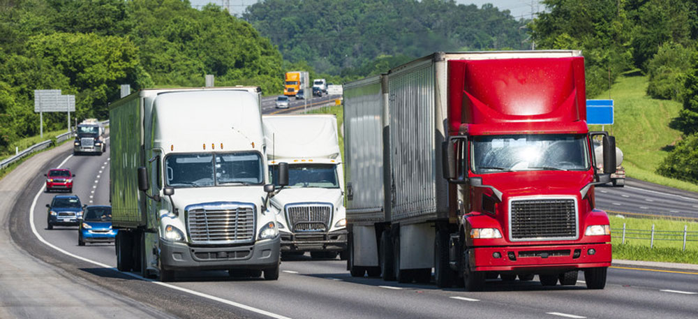 tractor trailers on highway