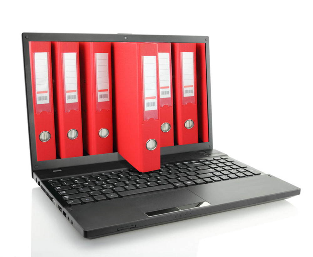 red file folders in a computer screen
