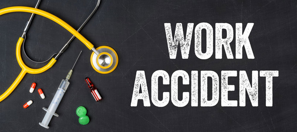 workplace accident text on black background with drugs etc