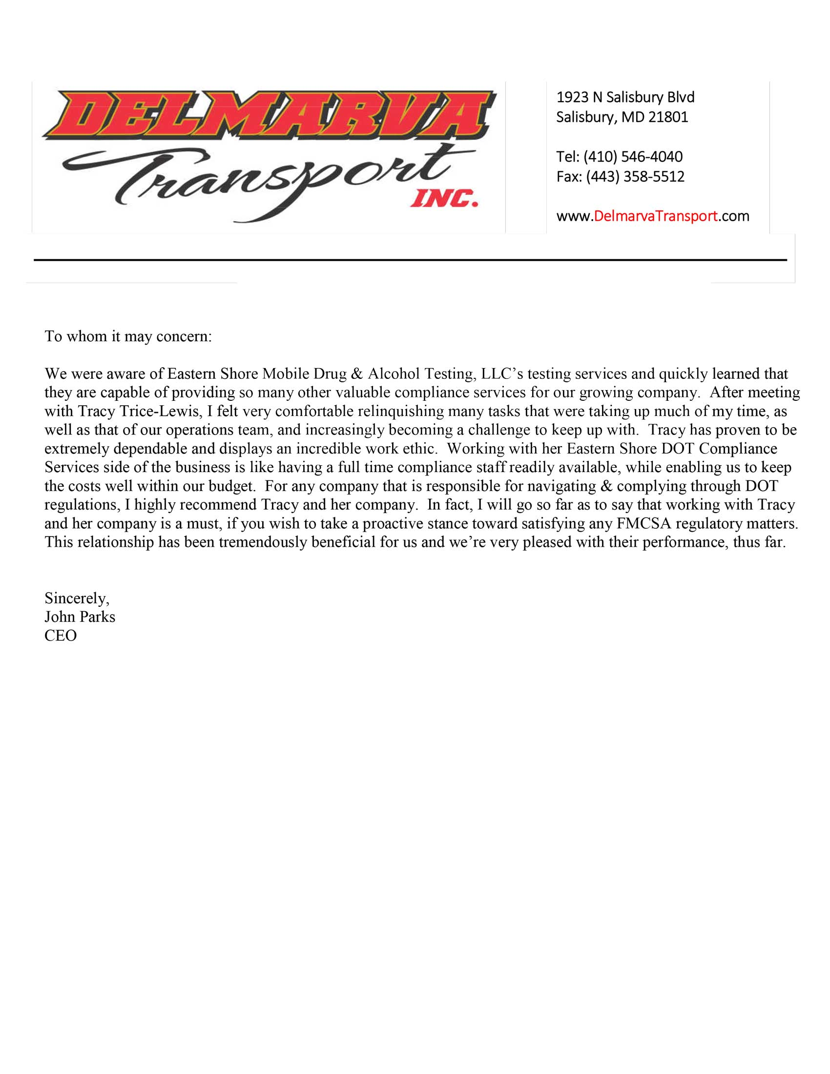 Delmarva Transport letter of recommendation to Eastern shore Mobile
