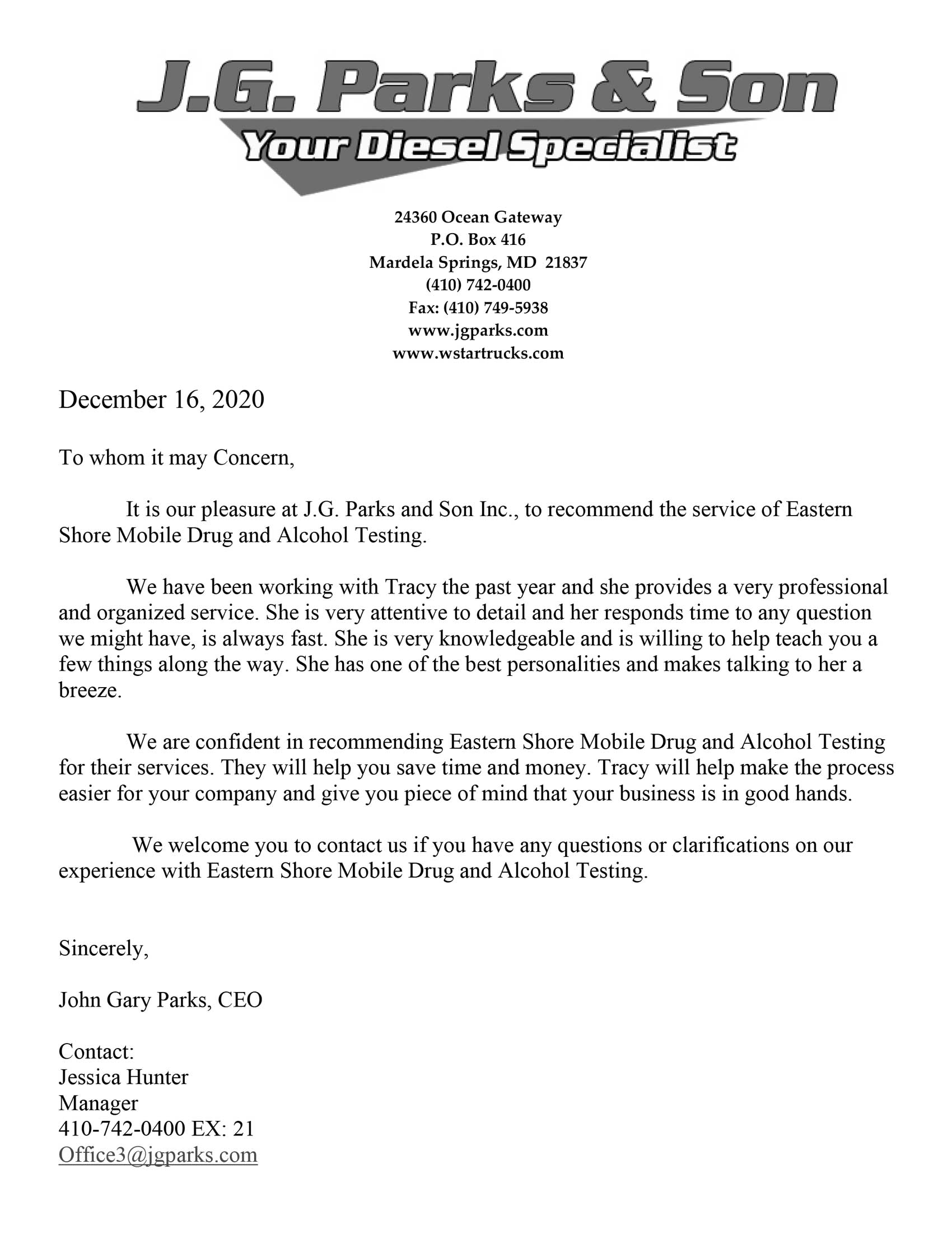 J G Parks and Son Recommendation letter