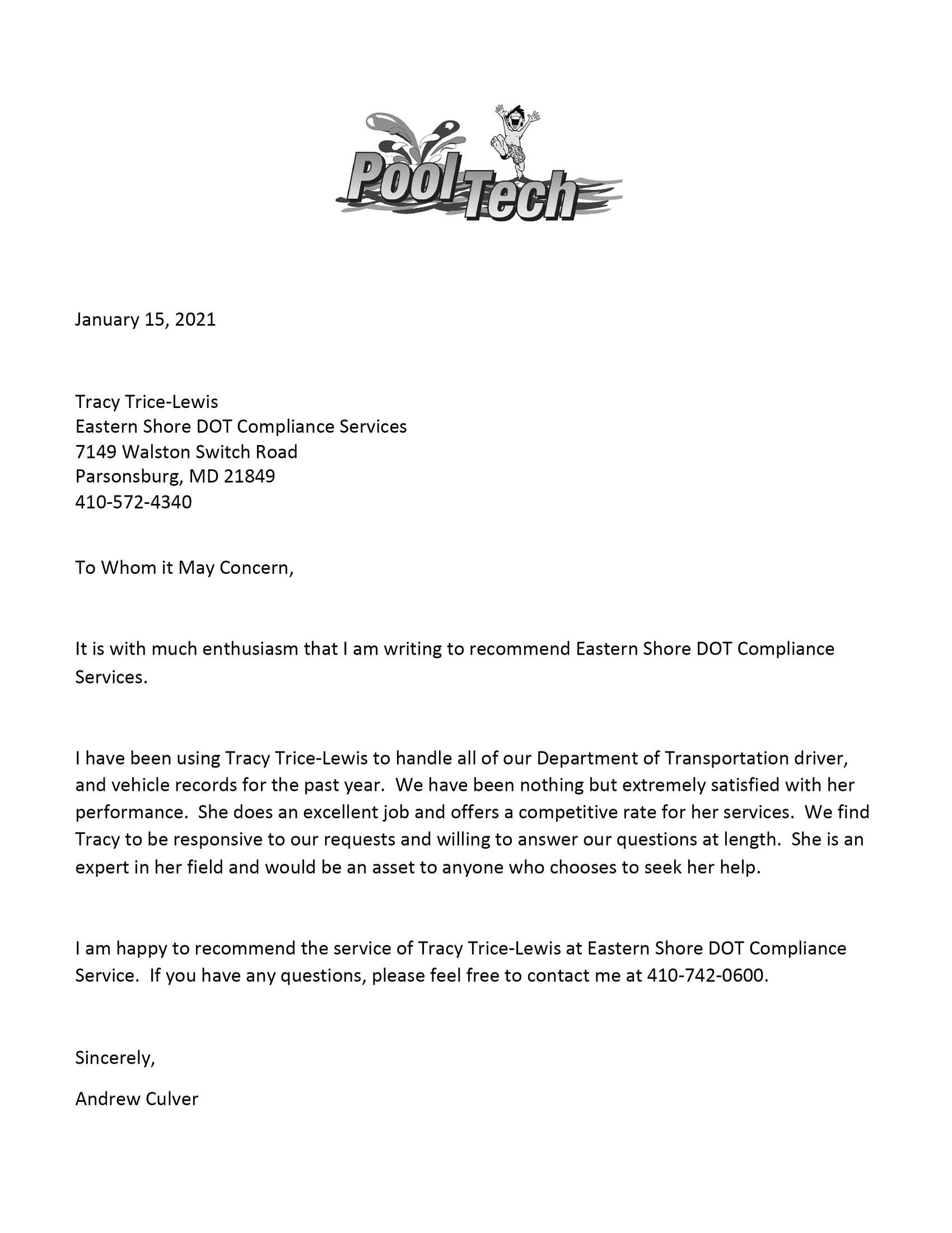 Pooltech Recommendation letter