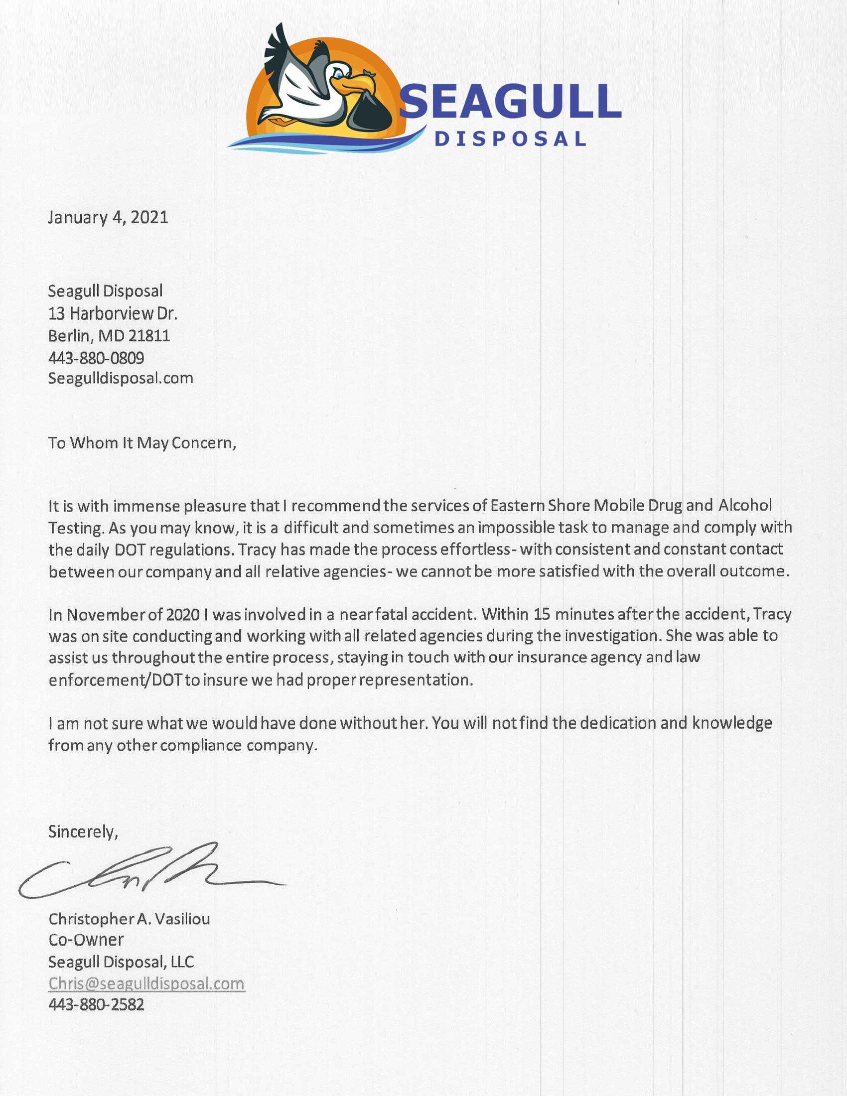 Seagull Disposal Recommendation letter